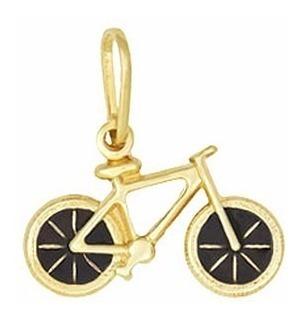 Pingente Bicicleta Resina Folheada A Ouro 18k Garantia