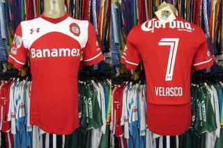 Toluca 2015 Camisa Titular Tamanho M Número 7 Velasco.