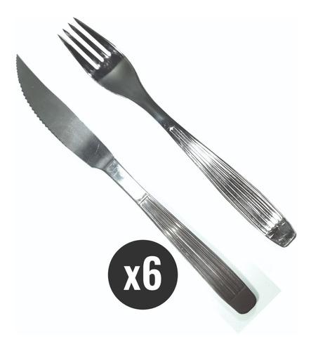 Set 6 Pares  Cubiertos Rayados Tenedor Cuchillo Acero