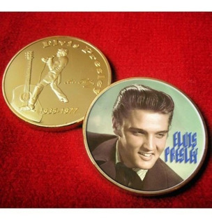 Medalla Conmemorativa Elvis Presley Colorizada Bañada En Oro