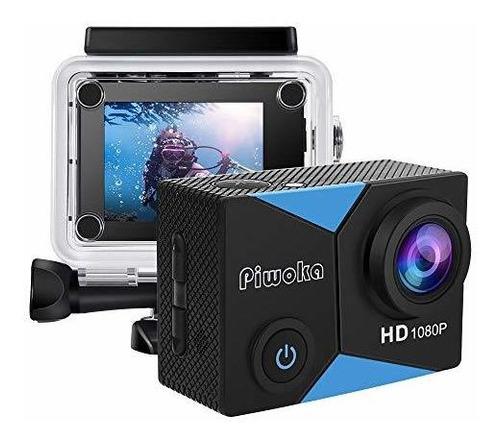 Piwoka Action Camera 1080p 12mp Waterproof Underwater 98ft