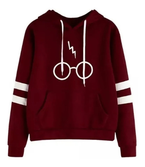 Blusa Moletom Unissex Canguru Óculos Harry Potter C/ Listras