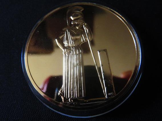 Medalla Atenea En Duelo Chapeada En Oro De 24 Kilates 50mm