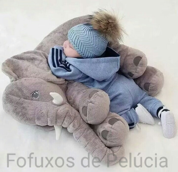 Almofada Elefante Pelúcia 55c Travesseiro Bebê Recém Nascido