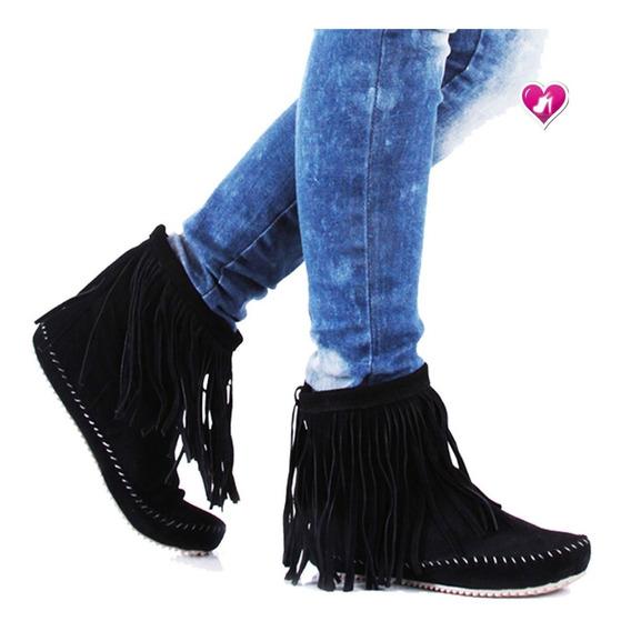 Bota Botineta Cuero Flecos Modelo New Zamba De Shoes Bayres