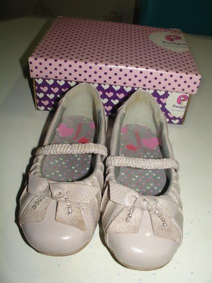 Menina Sapato Sapatilha Bailarina Creme Pampili Tamanho 27