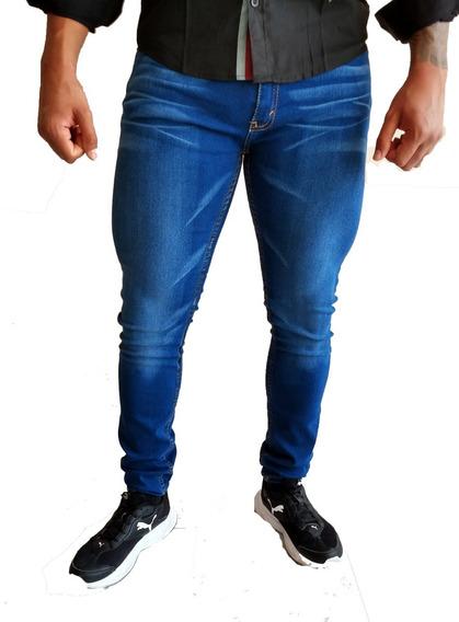 Pantalon Hombre Skinny Slim Fit De Mezclilla Super Strech