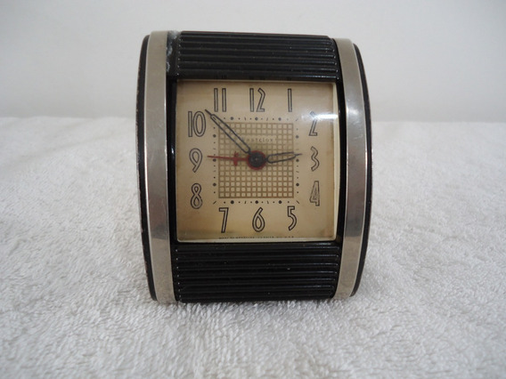 Antiguo Reloj Despertador Westclocks Art Deco Negro De Mesa