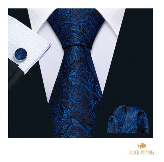 Corbata Pañuelo Y Mancuernillas Azul Marino Con Pailey Azul