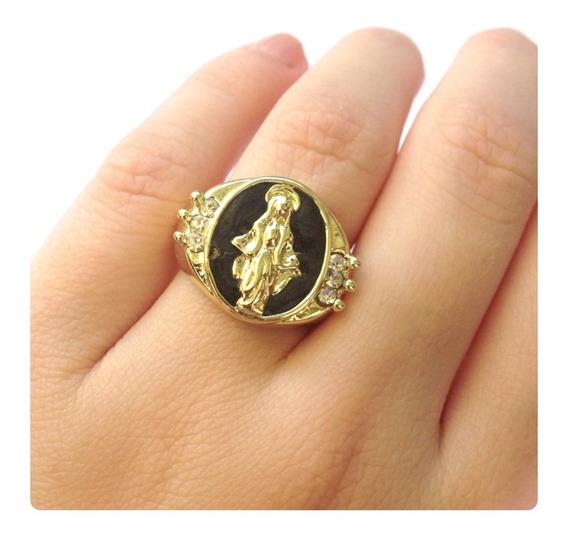 Anel Nossa Senhora Das Graças Folheado Dourado E Esmaltado
