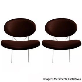 Par De Cadeiras Poltrona Decorativa Marrom Tulipa Lr-7809lm