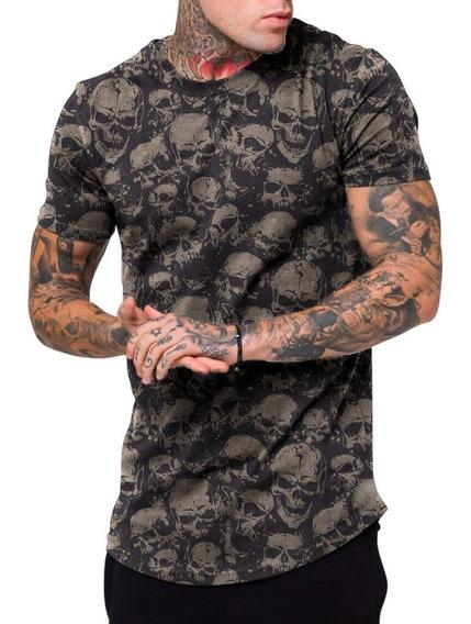 Camiseta Masculina Camisa Longline Cemiterio Caveira Fashion