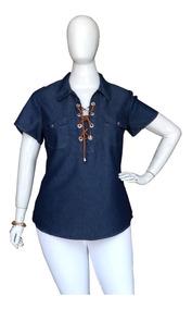Camisa Jeans Plus Size Feminino Roupas Femininas Cambos Show
