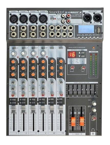 Mesa De Som Soundcraft Sx802 Fx Usb Efeitos Sx802fx