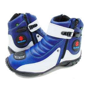 5f1524c9325 Bota Motociclista Em Couro Legítimo Azul E Branco - 271 por Atron Shoes