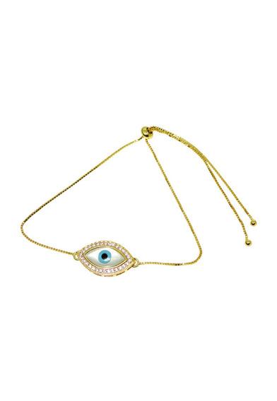 Pulseira Olho Grego Madrepérola Cravejada Regulável Dourada