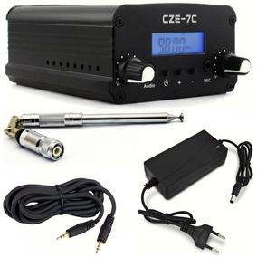 Transmissor De Rádio Fm Pll 7w Cze-7c Completo Frete Grátis