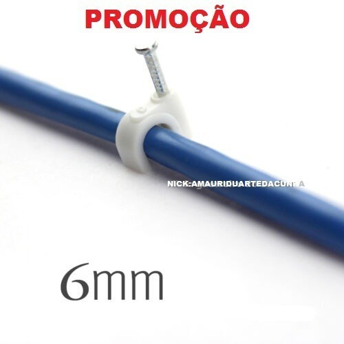 Miguelão 6mm Fixa Fio 1000 Pç- Cat5 Rg59 Drop Flat Pregoaço
