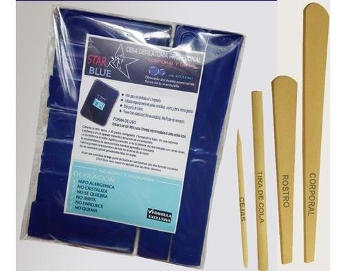 Cera Azul Elástica 1 Kilo + Espátulas Depilación Profesional