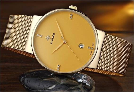 Relógio Masculino Social Luxo Wwoor 8018 Pulseira Aço Inox!