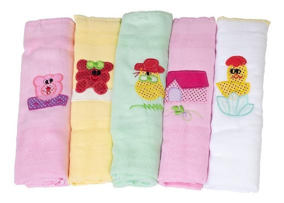 5 Fraldas Maternidade Multiuso Boca Banho Manta Color 70x70