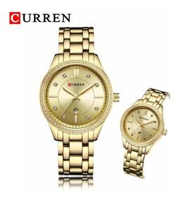 Relógio Feminino Dourado De Luxo Curren 9010 Quartz Original