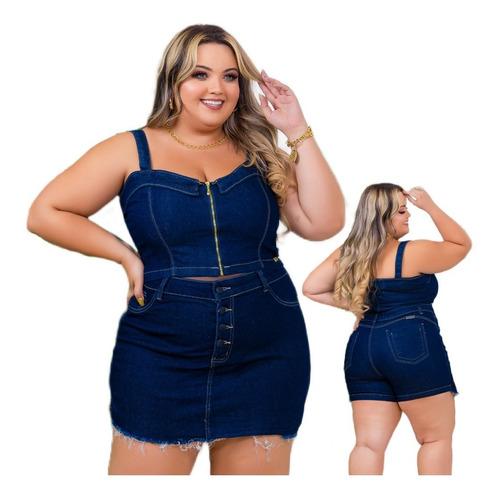 Conjunto Jeans Plus Size Short+blusa Look Grande Colecao 15