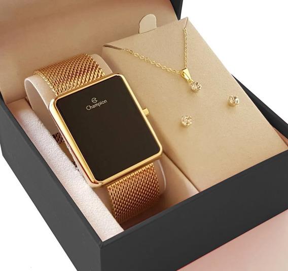 Relógio Champion Feminino Dourado Original + Kit Semi Jóia