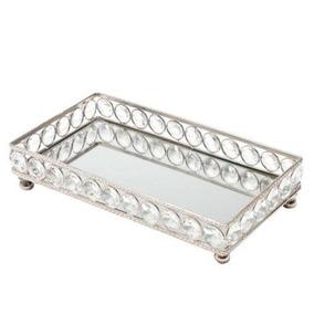 Bandeja Retangular Cristal Espelho Decorativa Sala Banheiro