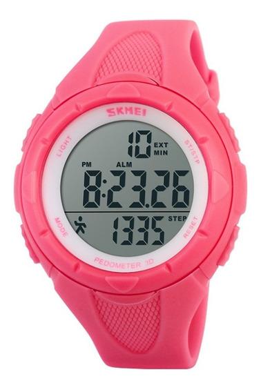 Relógio Pedômetro Feminino Skmei Digital 1108 Rosa
