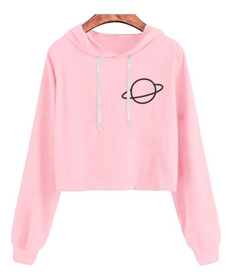 Blusa Moletom Curto Cropped Rosa Feminino Planeta Tumblr