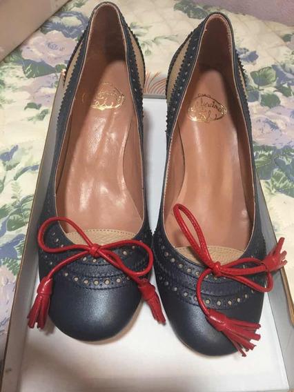 Zapatos Cuero Azul