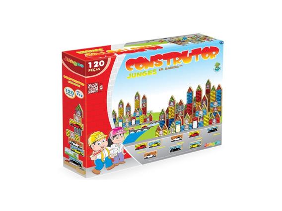 Construtor 120 Peças Em Madeira Brinquedo Infantil Pequeno Engenheiro Junges 712