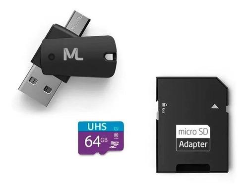 Cartão De Memória Multilaser Mc152 Com Adaptador Sd 64gb