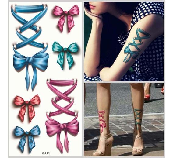 10 Cartelas Tatuagem Temporaria 3d Lindos Laços Coloridos