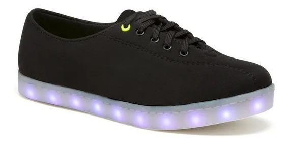 Sneakers Juvenil Mujer Black Luces Led Millenial Ok 2431321