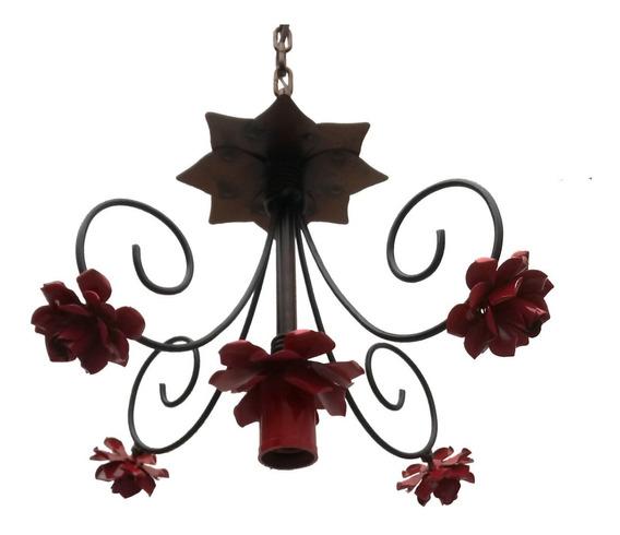 Pendente Luminaria De Metal Com Flores Simples Para Banheiro