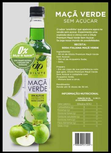 Xarope Essência Dilute Premium Soda Italiana Maçã Verde Zero