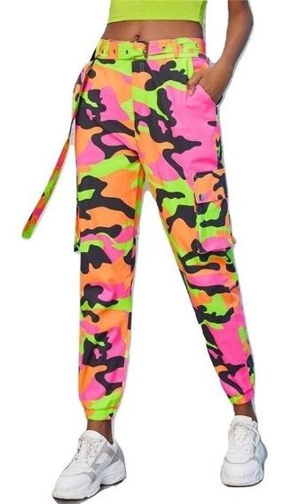 Pants Camuflaje Neon Pantalón Camuflajeado Ropa Mujer D