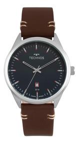 Relógio Masculino Technos Steel 2115msc/0a 45mm Couro Marrom