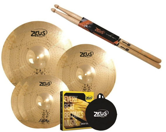 Kit De Pratos Zeus Evolution Set C 14/16/20 + Bag + Baqueta