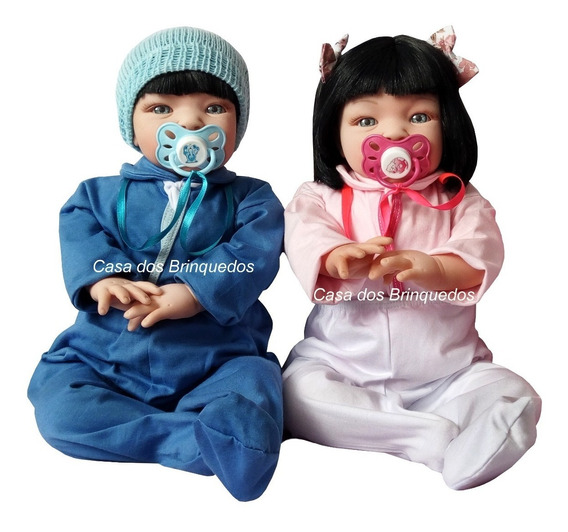 2 Bebê Verdade Realista Reborn Casal Menino E Menina Gêmeos