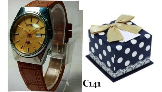 Relógio Pulseira De Couro Citizen Vintage Automático