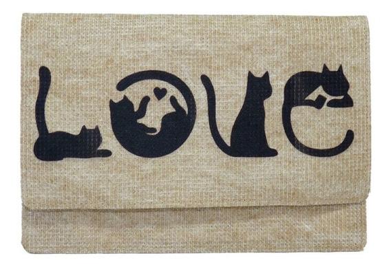 Carteira Love Gatos Moderna Pet Vegana Lavável