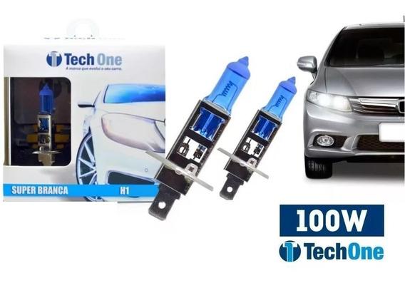 Par Lampada Super Branca H1 8500k Xenon 12v 100w Techone