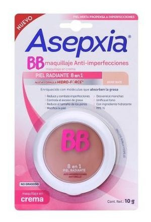 Asepxia Maquillaje En Crema Beige Mate Hidro Force 10grs