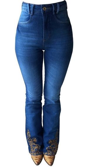Calça Jeans Feminina Flare Minuty Bordada 201836