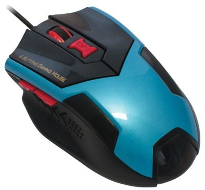 Mouse Gaming Optico Mo-x135 Preto- Azul Usb P/jogos 6 Botoes