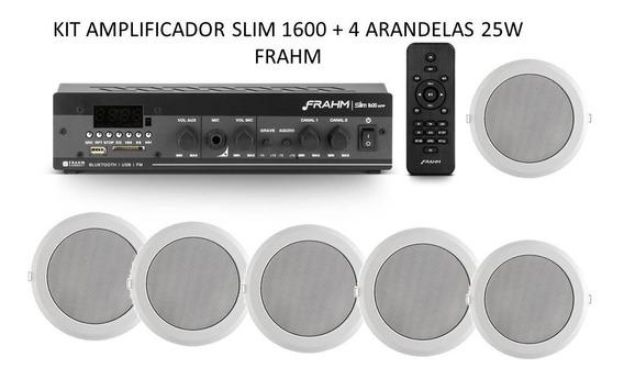 Kit Som Ambiente Amplif. Slim 1600 App+ 6 Arandelas 25w Rms