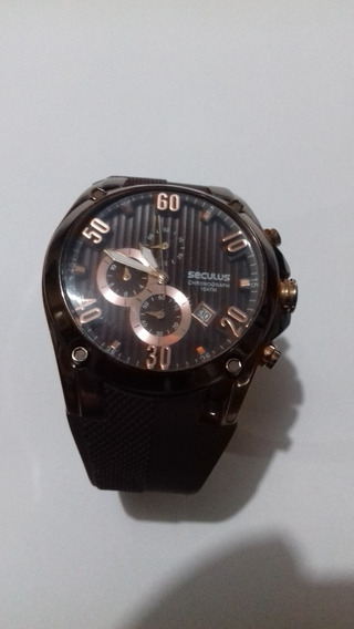 Relógio Séculus Chronograph 10 Atm Marrom